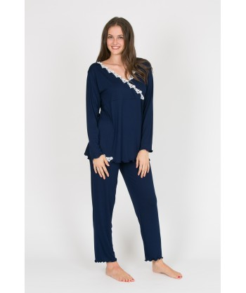 pigiama donna in viscosa con scollo a V in macramè
