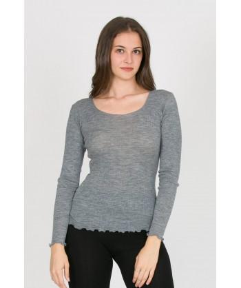 maglia girocollo in lana seta a costine