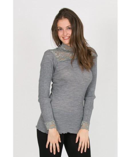 lupetto grigio in lana a costine e pizzo