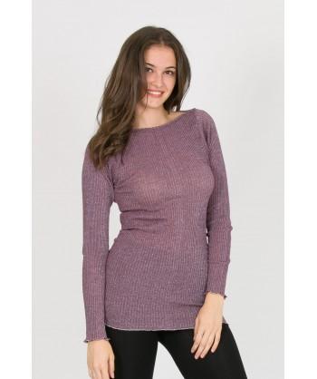 maglia scollo barchetta in lana e lurex