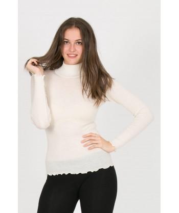 lupetto bianco panna in lana seta a costine