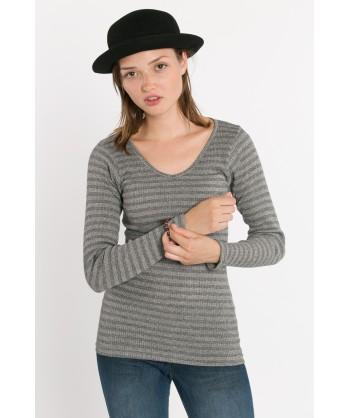 maglia maniche lunghe e scollo a V